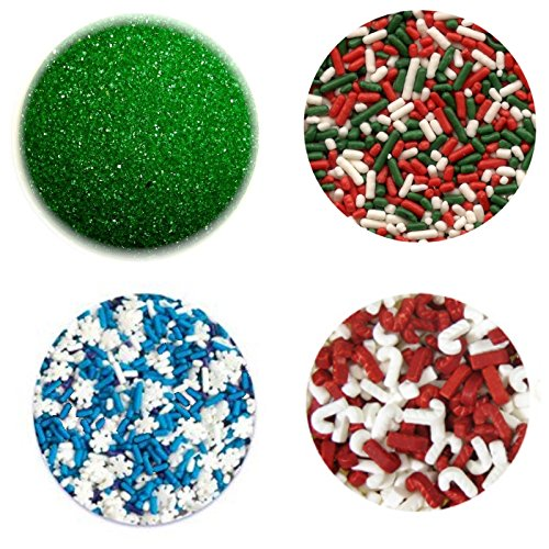 Set of 4 Sprinkles - Emerald Green, Candy Cane, Holiday, Snowflakes