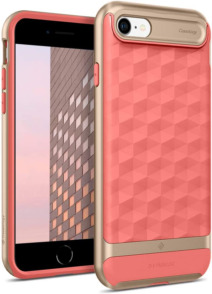 Caseology Parallax for Apple iPhone SE 2020 Case for Apple iPhone 8 Case (2017) for for iPhone 7 Case (2016) - Coral Pink