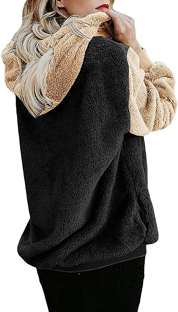 Womens Faux Fur Winter Coats Shearling Color Block Cardigan Zip Casual Jacket Hoodies with Pockets