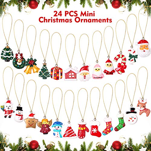 AYOGU 24 Pieces Mini Christmas Ornaments,Resin Petite Treasures Miniature Ornaments Set for Christmas Tree Decorations,Perfect for Christmas Party Home Decoration