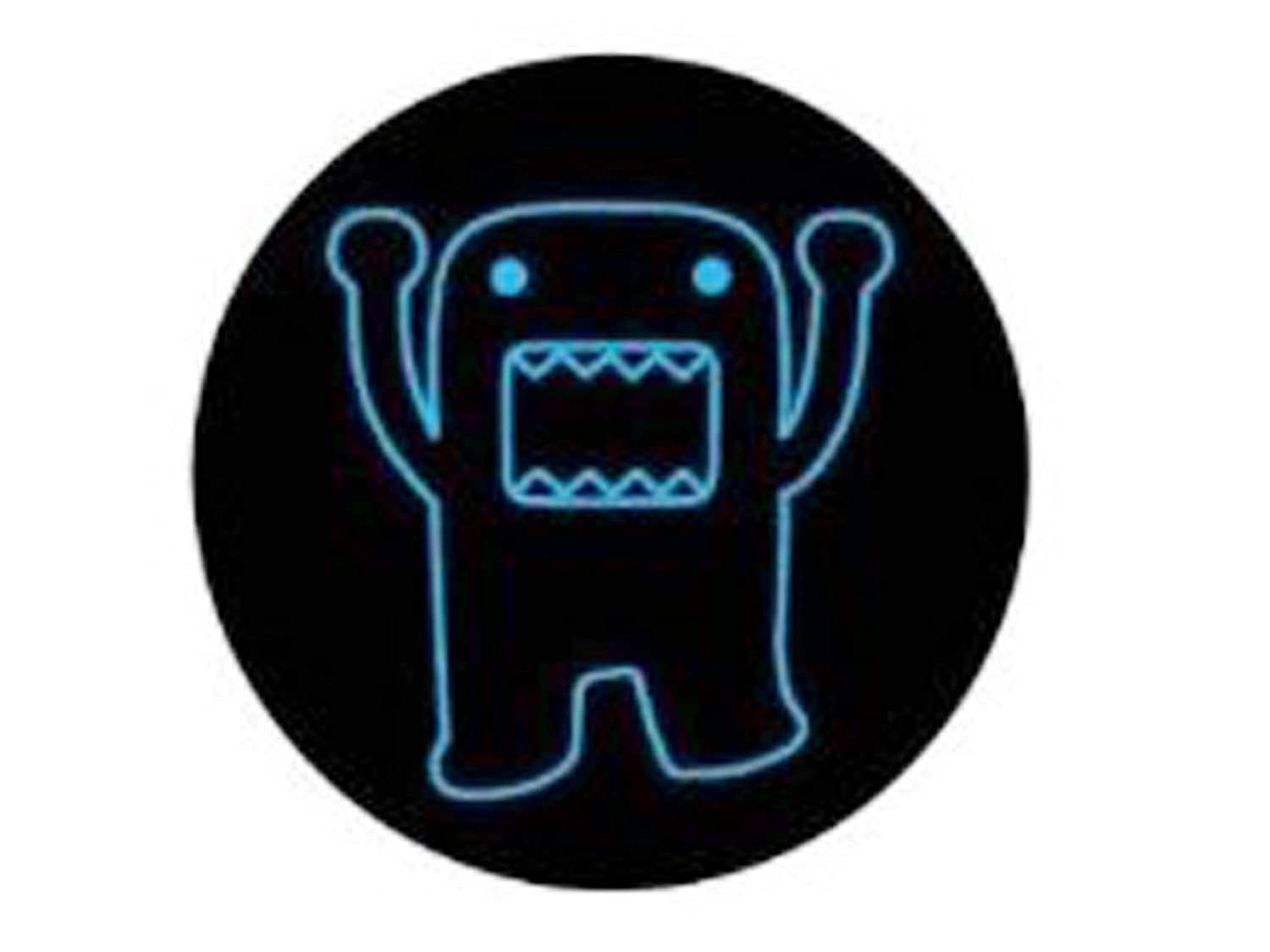 "Domo-Kun, Domo, 1.25"" X 1.25"", Officially Licensed - Button Schaltfläche- Blue Neon Colored Outline Childrens Anime TV Show Button Schaltfläche Officially Licensed & Trademarked Products"