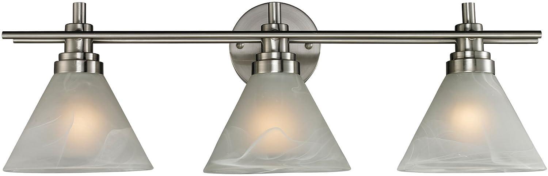 best Elk 11402/3 26 by 9-Inch Pemberton 3-Light Bathbar with Marbleized White Glass Shade, Brushed Nickel Finish