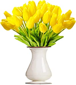 Bossrandy Artificial Tulips Real Touch Fake Latex Flowers 15 Pcs Eco-Friendly Holland Mini Tulip for Wedding Decor DIY Home Party(Yellow)