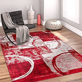 Amazon.com : Sunburst Red, Light Grey, Charcoal Modern 5x7 ( 5\'3\