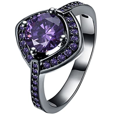 38ce4fecc0cc66 Black Gold Purple Amethyst Fashion Romantic Cushion Cut Round CZ Eternity  Wedding Band for Women Girl