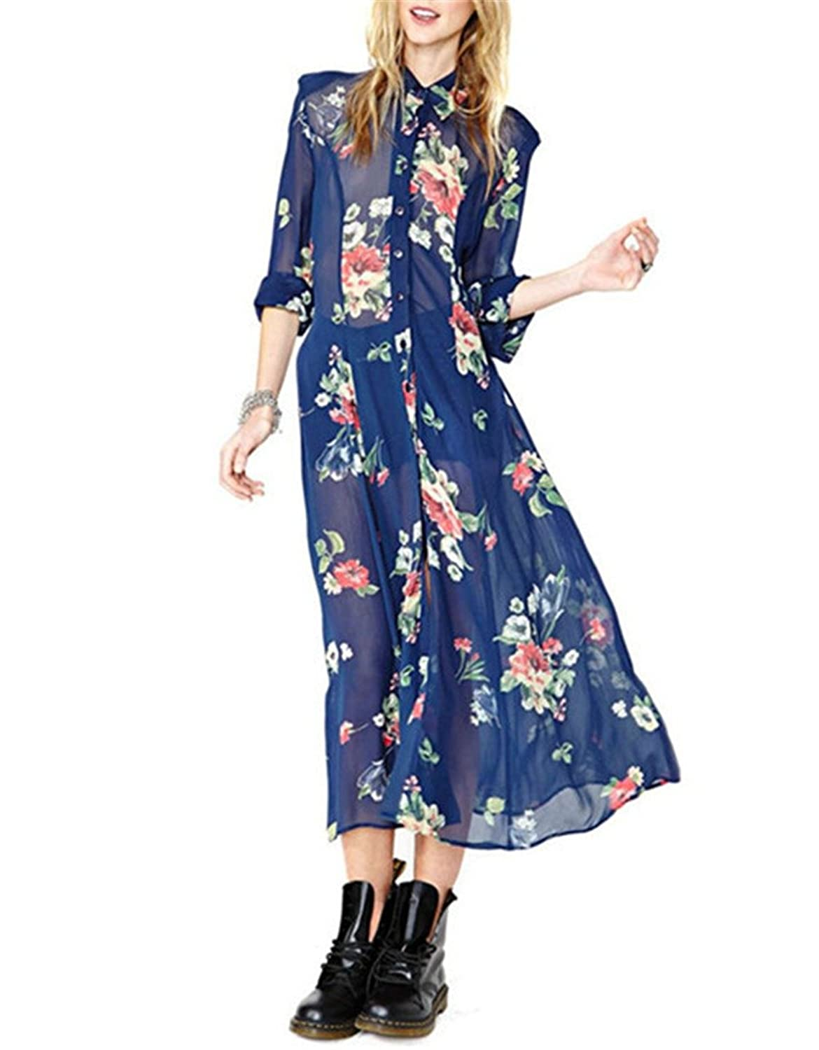 Royal Blue Chiffon Short Sleeve Vintage Loose Casual Floral Flower Long Dress