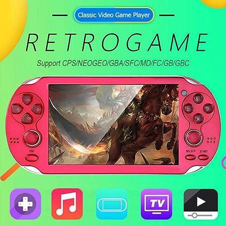 Volwco - Consola de Juegos portátil para niños y Adultos, 4,3 Pulgadas portátil de Videojuego integrada en 300 Juegos clásicos, 8 GB Retro Doble Joystick Consola de Juegos de Arcade de Mano: Amazon.es: Hogar