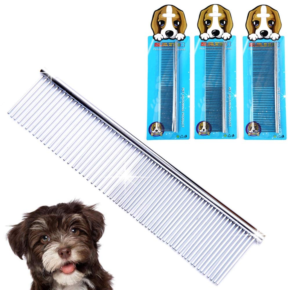 LIZONGFQ Pet Comb Soft Animal Care Protection Flea Comb for Dog Cat Pet Beauty Grooming Hair Comb Stainless Steel Comfort Flea Comb (1pcs)