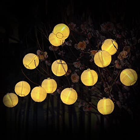 Solar String Lights, Solar Powered 20 LED String Lantern Lights, Outdoor  Garden Decorative
