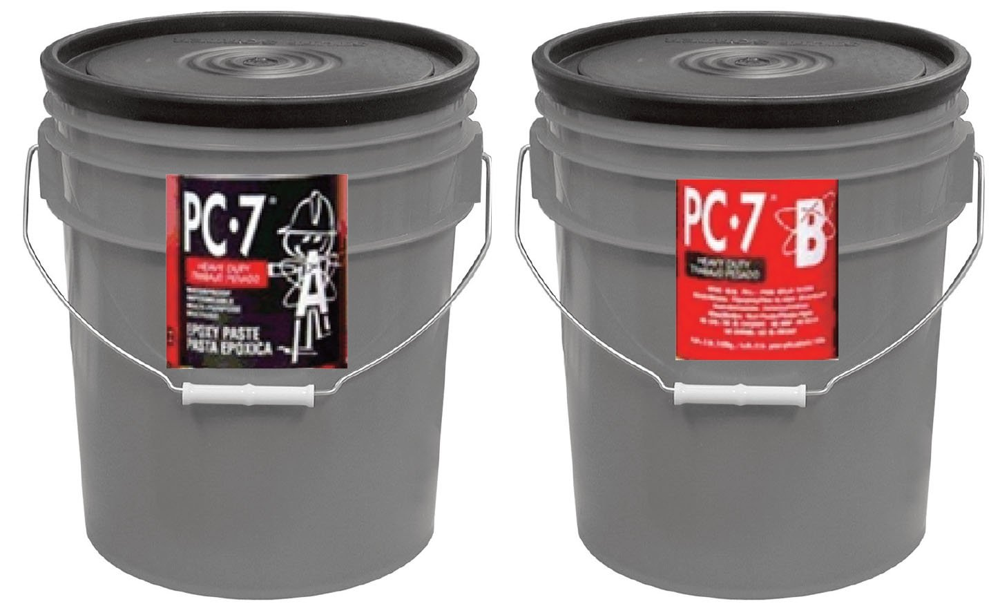 PC Products 909072 PC-7 Two-Part Heavy Duty Multipurpose Epoxy Adhesive Paste, 10 gal in Two Pails, Charcoal Gray