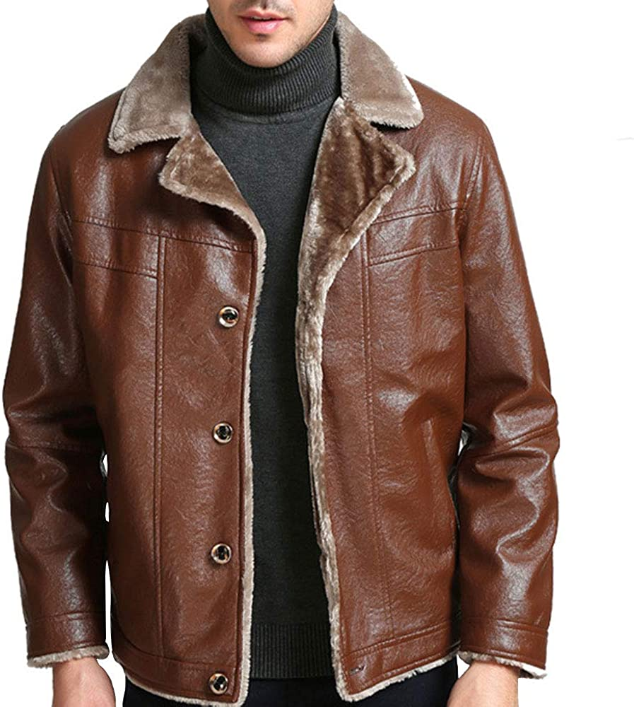 Gate2Light Mens Winter Thick Fleece Lind Jacket Notched Lapel Button Faux Leather Jacket