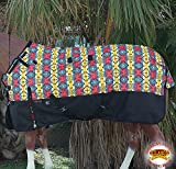 HILASON 78'' 1200D Ripstop Turnout Winter Horse Sheet Aztec Black