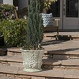 Great Deal Furniture Fern Outdoor White Moss Finish Light Weight Concrete Urn