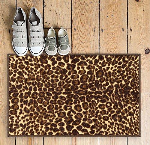 Non-Skid Slip Rubber Back Antibacterial 2x3 (2' x 3') Brown Leopard Animal Print Modern Thin Low Pile Machine Washable Indoor Outdoor Kitchen Hallway Entry