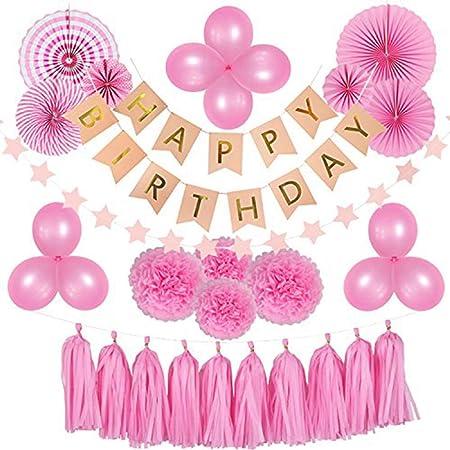 IDEC Cumpleaños Fiesta decoración niñas, 44 Piezas Rosa ...