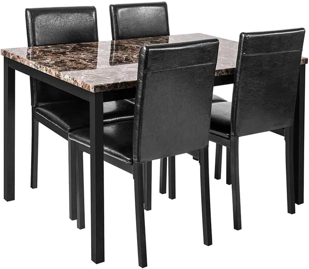 Amazon Com Faux Marble Dining Set For Small Spaces Kitchen 4 Table With Chairs Home Furniture Black Table Chair Sets