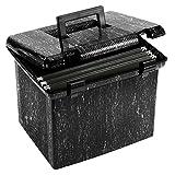 Pendaflex Portfile Portable File Box, Black Marble, 1/Each