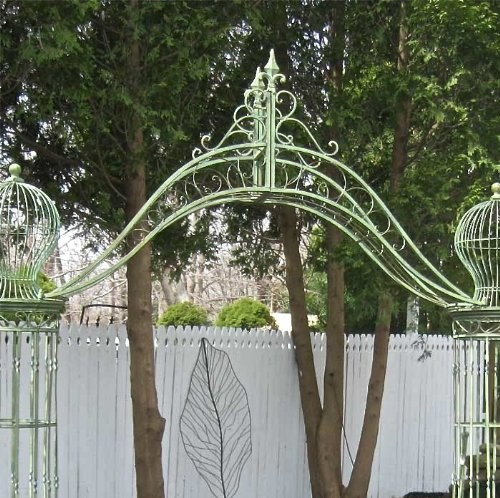 Garden-Trellis Arch 9' Tall - Wrought Iron - Antique Mint Green Finish by SERENDIPPITY (Image #2)