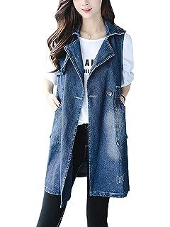 48fb19678cf7 Jeansjacke Damen Lang Vintage Elegante Jeansweste Ärmellos Revers  Embroidery Jungen Chic Casual Locker Fashion Denim Weste