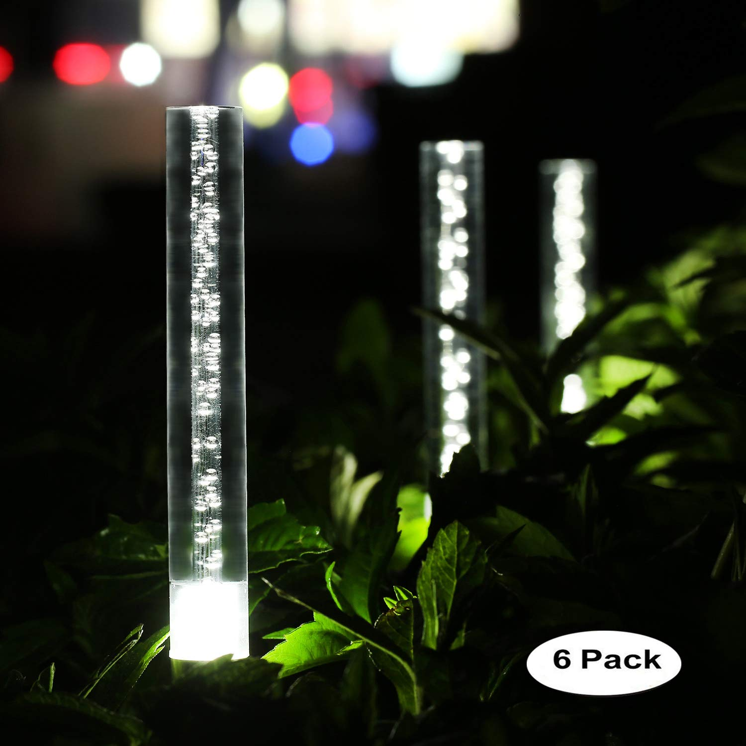 Sunwind Solar Garden Tube Lights String Bright White Solar Powered Crystal Bubble Pathway Stick Lights Set of 6 Garden Path Lights Stakes for Patio Walkway Lawn Fence Garden Decor (Bright White)