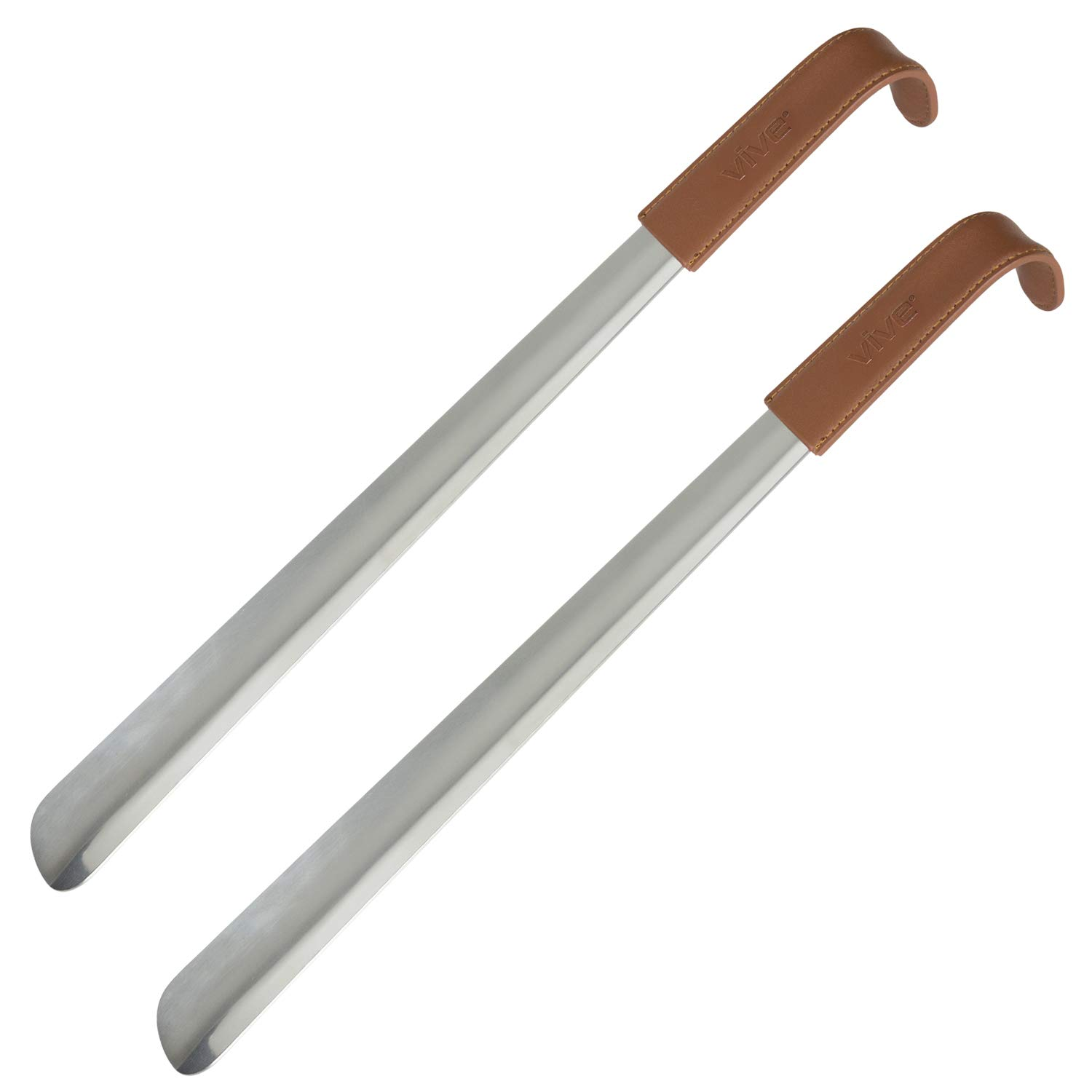 Vive Long Shoe Horn (16.5'', Two Pack) - Metal Shoehorn for Men, Women, Kids, Travel, Boots - Large Extended Mobility Reach Stainless Steel Leather Handle - Dress Assist for Handicap, Elderly, Seniors