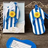 150 Beach Themed Flip Flop Luggage Tags with a Blue and White Striped Design