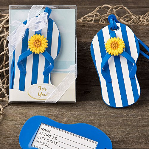 100 Beach Themed Flip Flop Luggage Tags with a Blue and White Striped Design by Fashioncraft