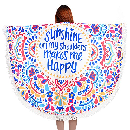 Vibger Stylish Tapestry Beach Cover Shawl Round Towel Beach Throw Bikini Cover for Women (Sun Shine)