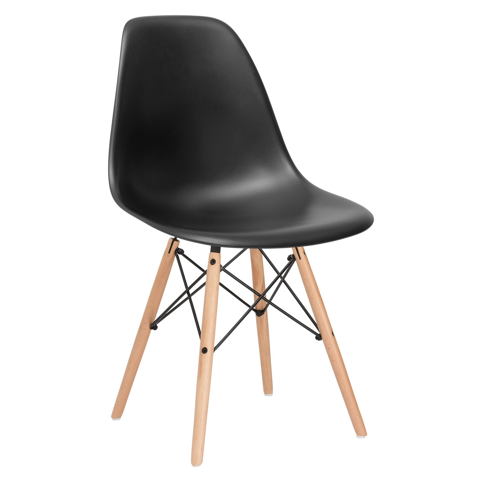 Poly and Bark Modern Mid-Century Side Chair with Natural Wood Legs for Kitchen, Living Room and Dining Room, Black by POLY & BARK