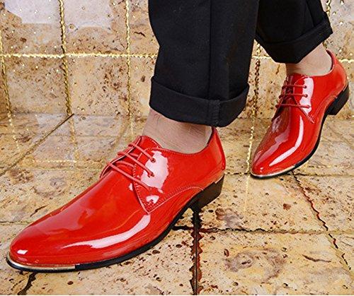 Puntiaguda Punta Zapatos Hombre Casuales Derby de de Rojo Zapatos Negocios Hombres Vintage Wealsex para Cordones Ffqw00Yd