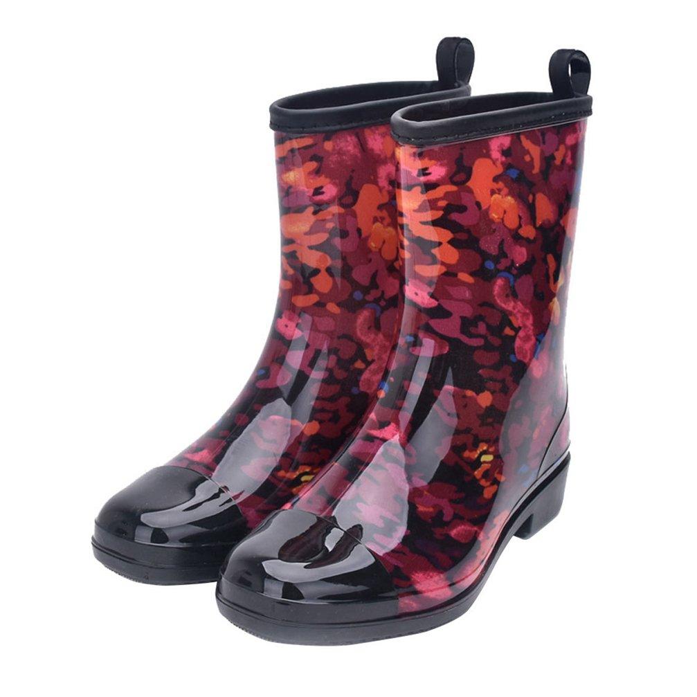 Kontai Women Half Calf Rubber Rainboots Floral Printed Waterproof Rubber For Garden Women Rain Footwear Size 8
