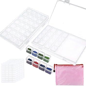 Amazon.com: Cajas de pintura de diamante de 28 ranuras con ...