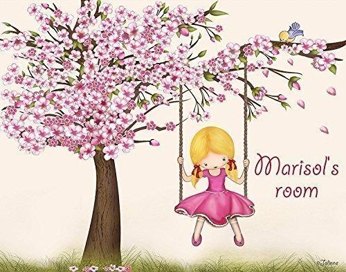 Custom Kids Wall Art Personalized Name  Gift for Girls Cherr