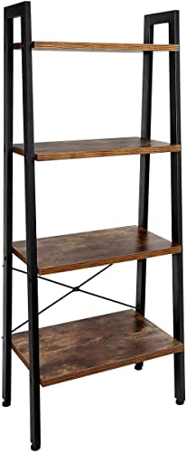 TomCare Bookshelf 4-Tier Ladder Shelf Bookcase Storage Rack Shelves Shelf Display Rack Plant Stand Wood Look