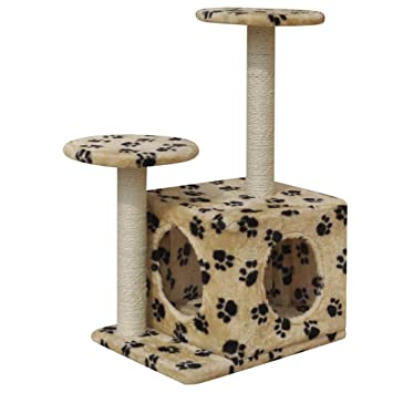 vidaXL Rascador para Gatos 64 cm 1 casa Beige con diseño de Huellas: Amazon.es: Hogar