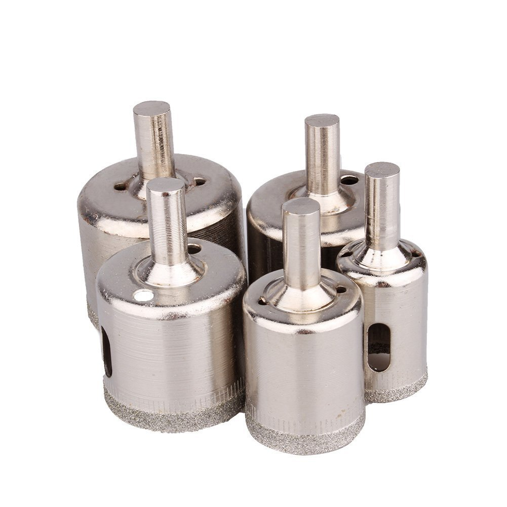 "Yosoo 5 pcs Diamond Hole Saw Drill Bit Set 3/4"" - 1 1/2"" inch Granite Glass Tile"