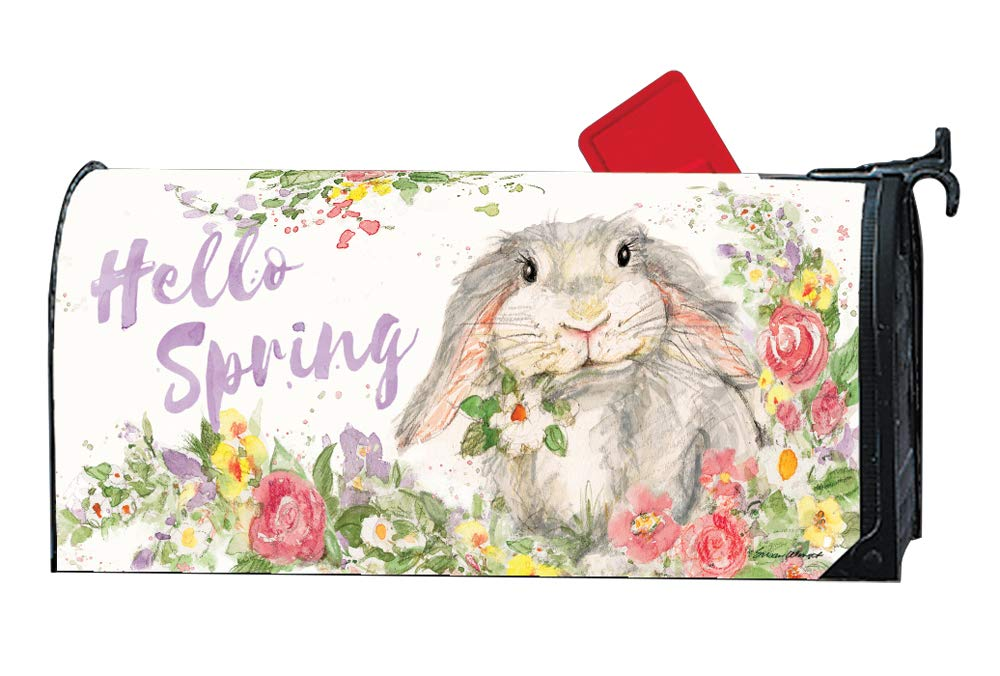 MailWraps Studio M Hello Bunny Decorative Spring Easter, The Original Magnetic Mailbox Cover, Made in USA, Superior Weather Durability, Standard Size fits 6.5W x 19L Inch Mailbox