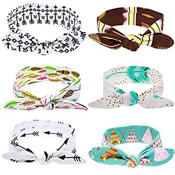 Roewell Baby's Turban Knotted Headbands Infant Hair band Newborn Stretchable Hair Bows Headbands (6 pack)