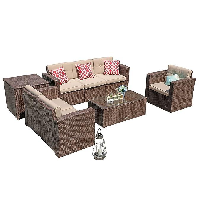 Amazon.com: PATIORAMA Juego de muebles de mimbre de ...