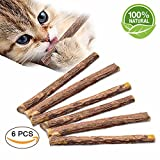 VIVOO Cat Teeth Grinding Chew Toy Catnip Stick Natural Matatabi 6 Pack - Healthy Care Organic Silver Vine Bully Sticks for Kitty