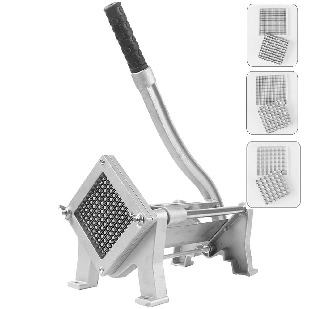 Huanyu Manual French Fries Cutting Machine Potato Chips Cutter Slicer Fruit Vegetable Cutter 8mm/10mm/12mm Stainless Steel Blades Kitchen Tool Commercial Machine (Machine with 8+10+12mm blades) by Huanyu