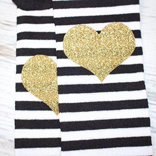 Gold Glitter Heart Black and White Stripe Ruffle Baby Leg Warmer by Olive Loves Apple (Image #2)'