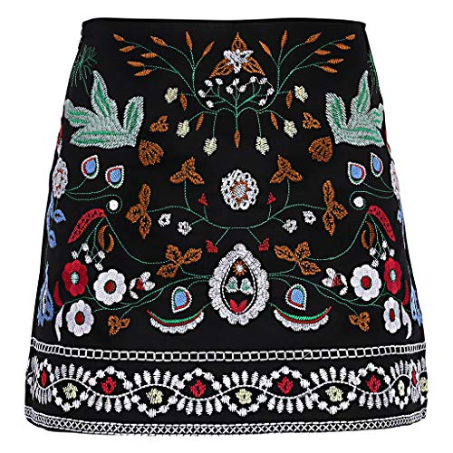 (Sample9 Women's High Waist Vintage Ethnic Flower Embroidered A Line Bodycon Mini Skirt - L - Black)