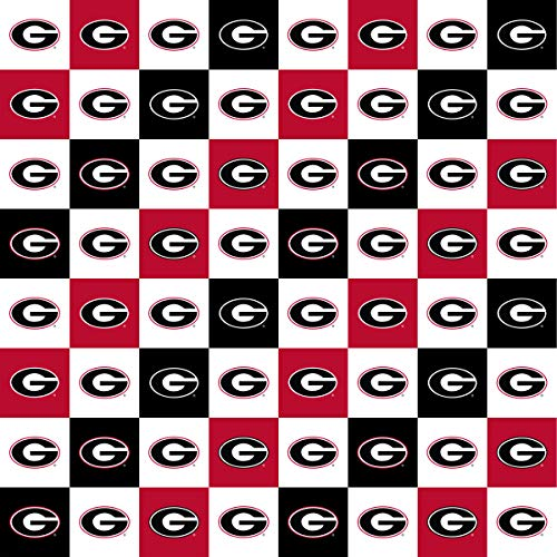 University of Georgia Cotton Fabric with New Mini Check Design-Newest Pattern-NCAA Cotton ()