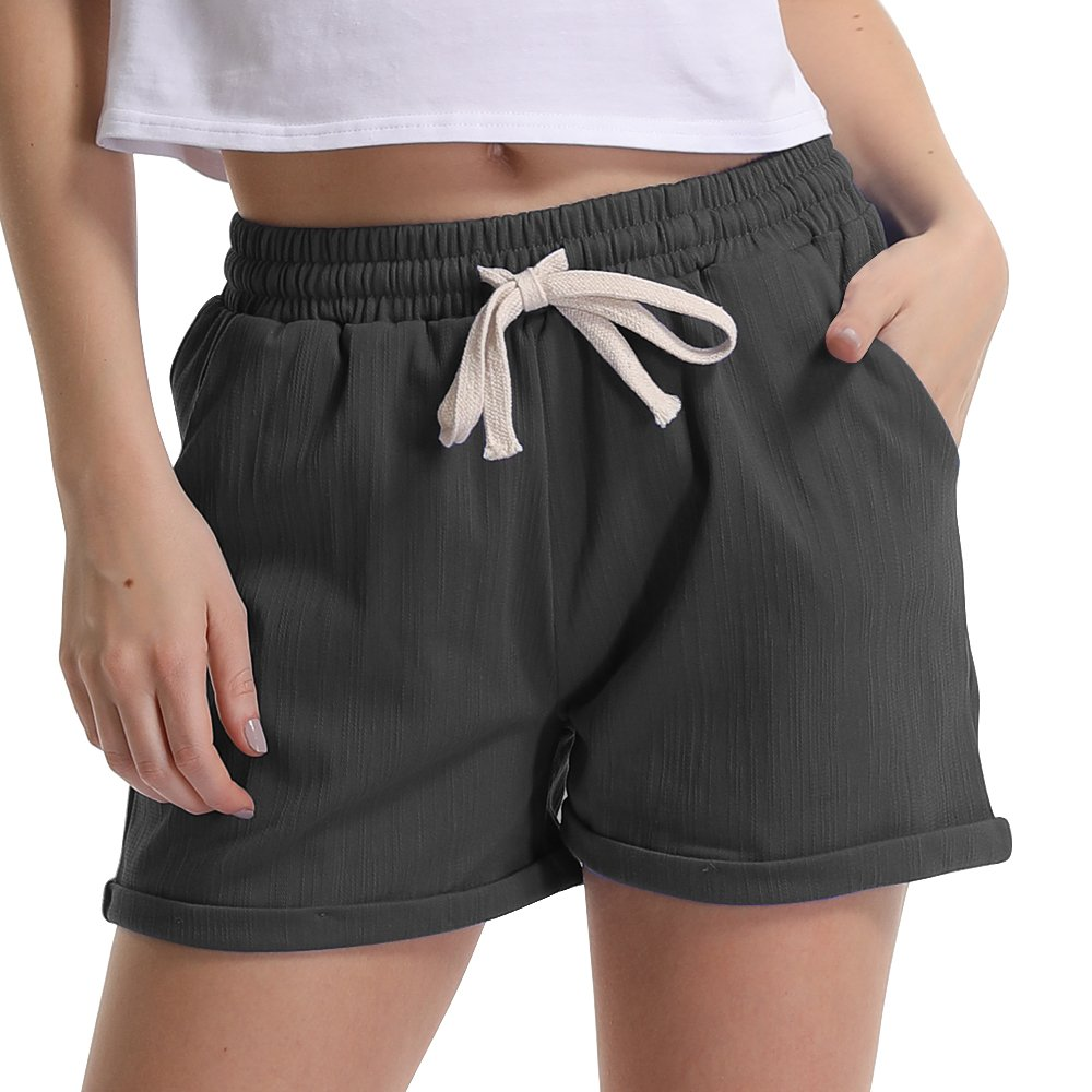 Women's Elastic Waist Cotton Linen Casual Beach Shorts with Drawstring Denim Black Tag L-US 4-6