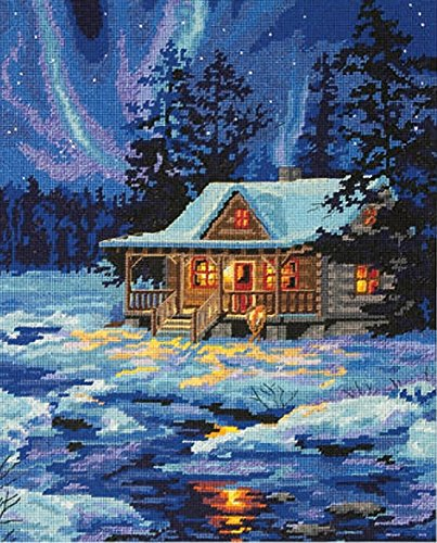 (Dimensions Needlepoint Kit, Winter Sky Cabin, 11'' x 14'')