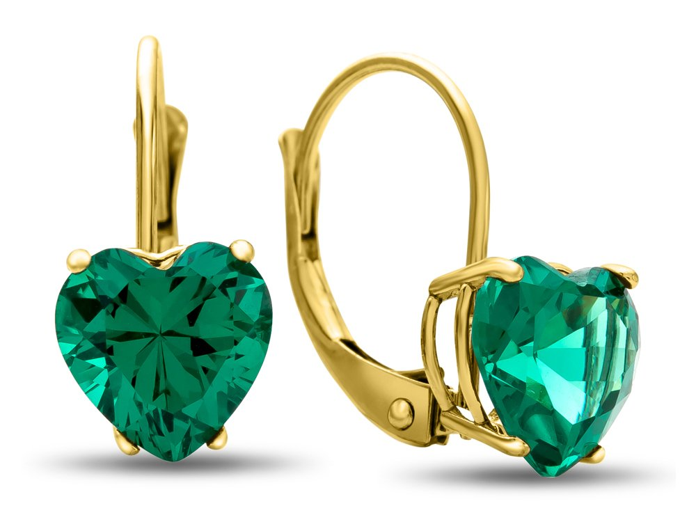 Finejewelers 7x7mm Heart Shaped Simulated Emerald Lever-back Earrings 14 kt Yellow Gold by Finejewelers (Image #1)