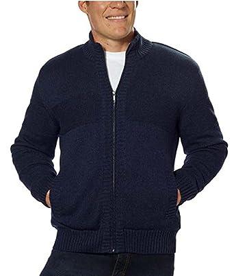 b0cec47314171f BOSTON TRADERS Men s Knit Sherpa Lined Full Zip Sweater Jacket Navy ...