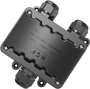 Cajas Electricas, Grandes 3 VÍAs Caja Estanca IP66 Negro Caja Empalmes Estanca, M20 PresiÓN de Cable 9mm-14mm (ABS + PVC): Amazon.es: Bricolaje y herramientas