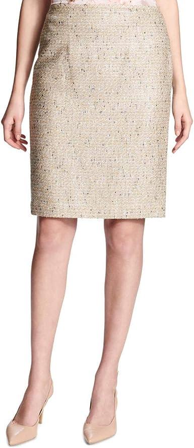 Calvin Klein Falda con Textura Recta para Mujer - Marfil - 48 ...